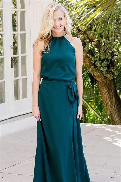 Two Piece Emerald Green Chiffon Long Bridesmaid Dress