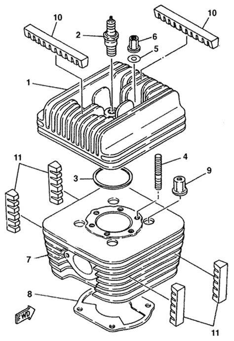 Yamaha Head and Cylinder Parts :: Yamaha KT100 Engine