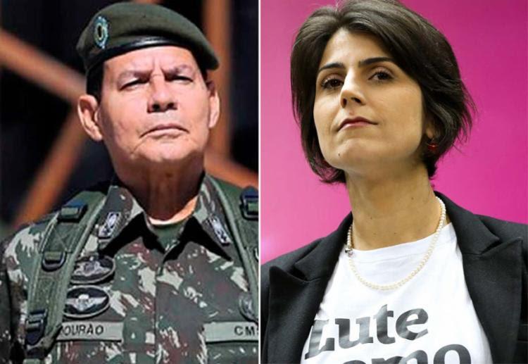 Mourão é vice do candidato Bolsonaro; já Manuela disputa a eleição na chapa de Haddad - Foto: Agência Brasil