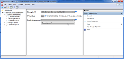 Service Management Node Connected with Default Storage Account