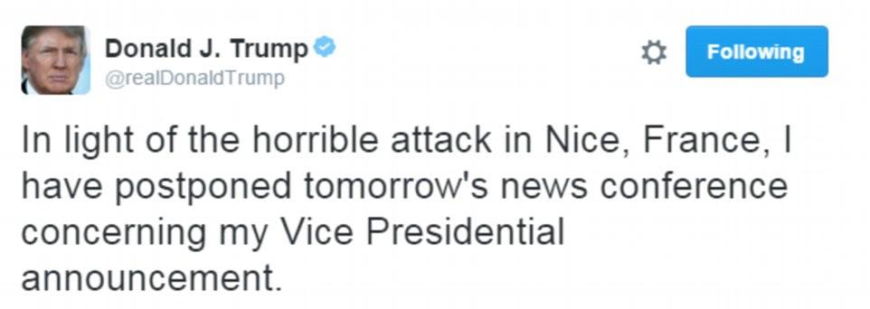 """Breve: Donald Trump apreendidos em relatos horríveis de outro ataque mortal na França, pedindo a seus seguidores no Twitter: """"Quando vamos aprender?"""