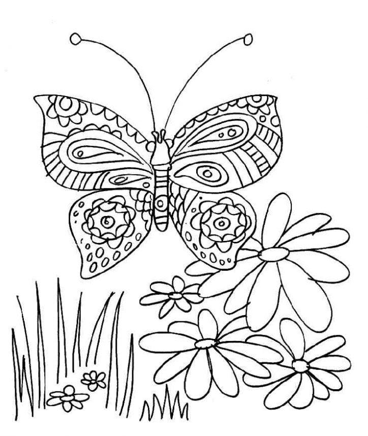 Dibujo De Mariposa En Las Flores Para Colorear Dibujos Infantiles