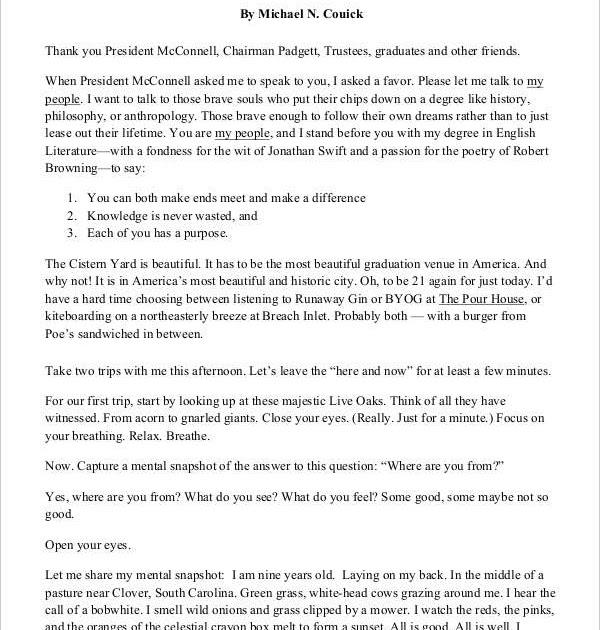 best templates 8 graduation speech examples samples pdf