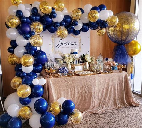 Navy, white and gold for jaxsons christening day. Gorgoues