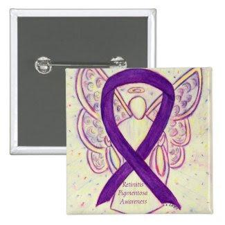 Retinitis Pigmentos Awareness Angel Ribbon Art Pin
