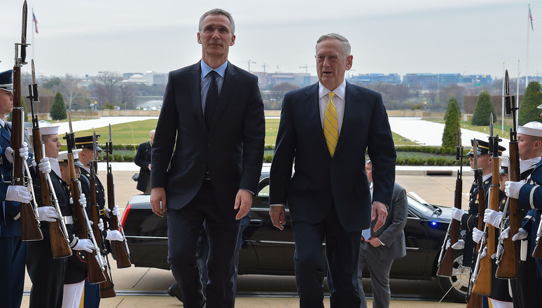 NATO Secretary General Jens Stoltenberg meets with Jim Mattis, Secretary of Defense of the United States of America