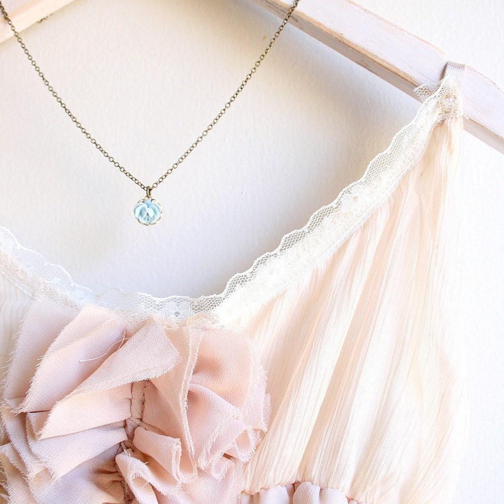 La Petite Rose Necklace in Pale Blue