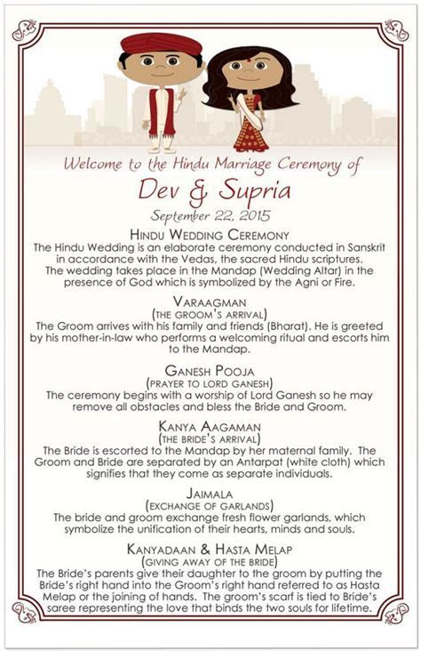 Hindu Wedding Programs, Hindu Wedding, Order of Ceremony