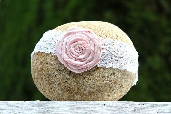 Valentine's Pink Flower Lace Headband Baby Toddler