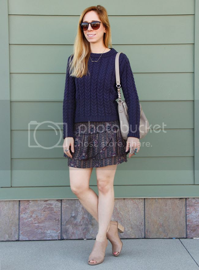 Cotton On cable knit sweater with Forever 21 boho babe skirt, Kate Spade Penny bag and Mossimo Kacie boots