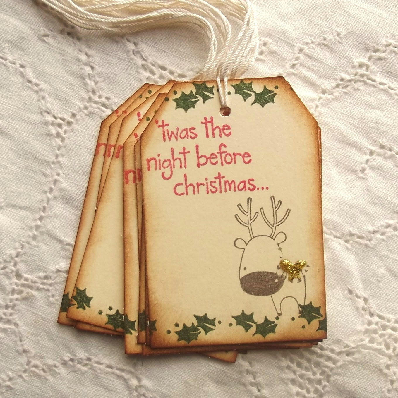 Rudolph Christmas Tags - Twas the night before Christmas, Reindeer