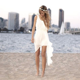 Simple Ivory Chiffon Short Beach Wedding Dresses High Low