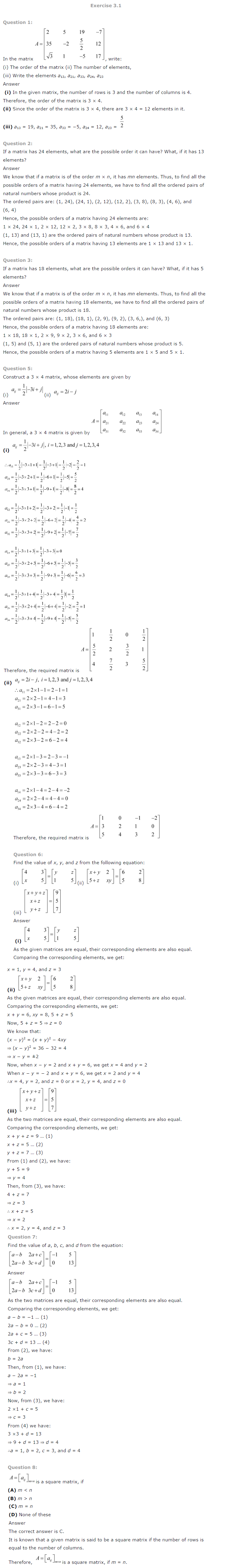 NCERT Solutions for Class 12 Maths Chapter 3 Matrices ex 3.1