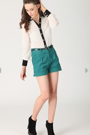 natalie cord turn up shorts in teal green 19.99