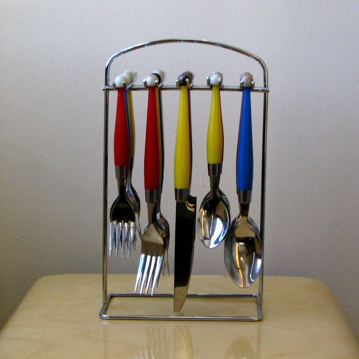 Retro Set of Hanging Flatware in Primary Colors by MidwestSplendor