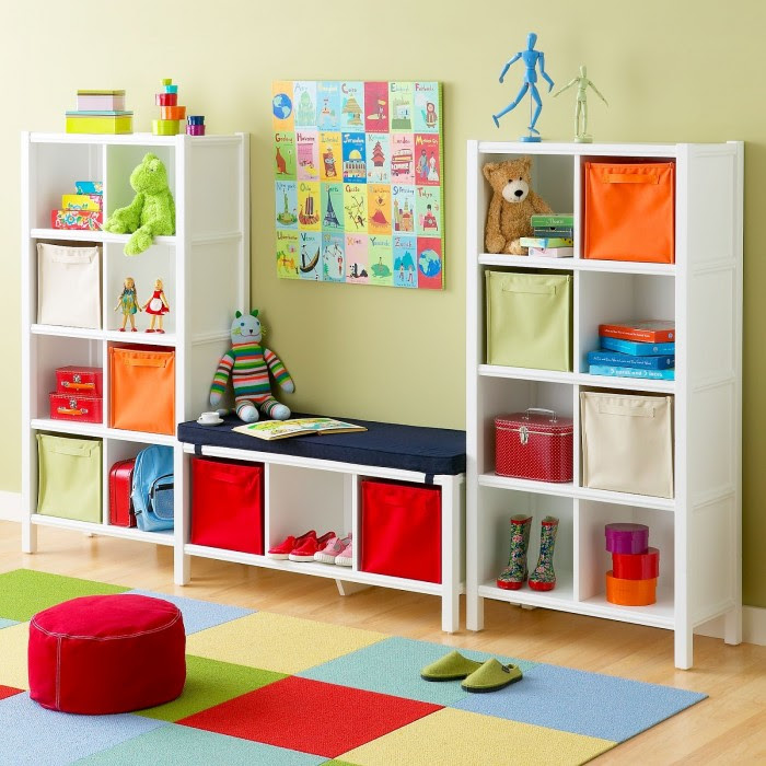 Cube storage in primary colors child's playroom