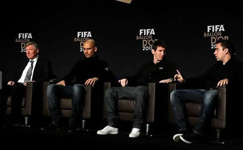 Sir Alex Ferguson, Guardiola, Messi and Xavi at FIFA's Balon d'Or 2011-2012 ceremony and gala event