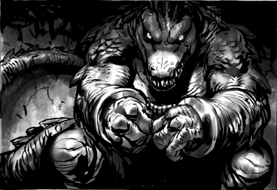 Tales of the TMNT # 50 ..Peek:: Leatherhead creep..art by Paul Harmon [[ Courtesy of Tristan Jones ]]