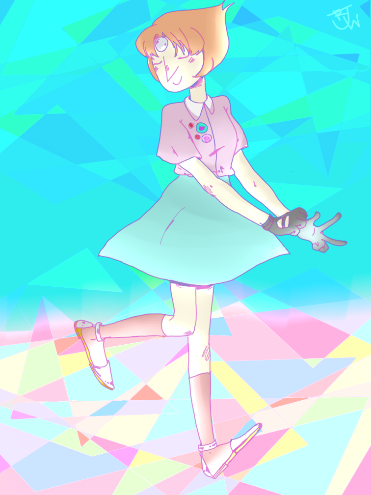 here is some modern dressed pastel pearl didnt have pen pressure but wanted to draw badly