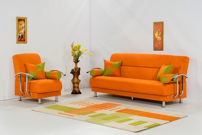 Decorating Ideas Using Orange Sofa In Living Room Freshnist