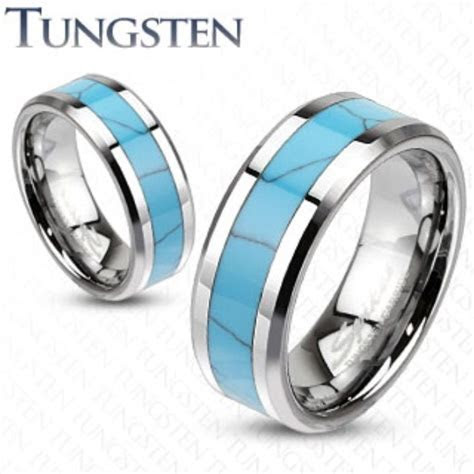 Mens/Womens Tungsten Turquoise Inlay Band Ring/Wedding