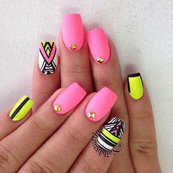 Neon Pink, Matte Tribal Nail Design.