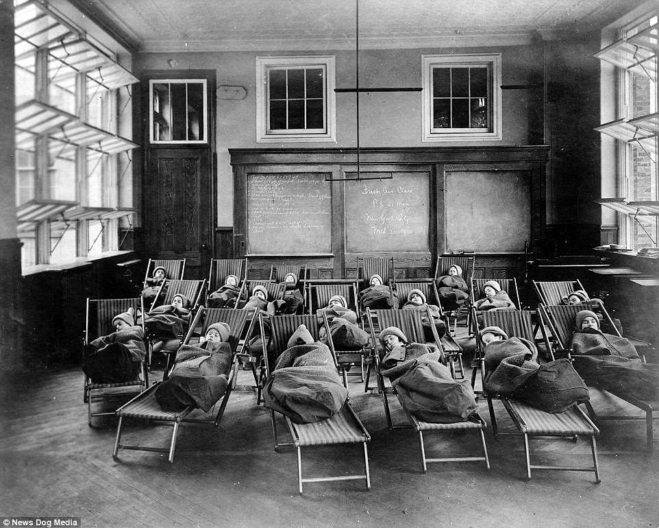 Children attempted to take a nap in the freezing conditions at a fresh air class in Manhattan, New York, 1911