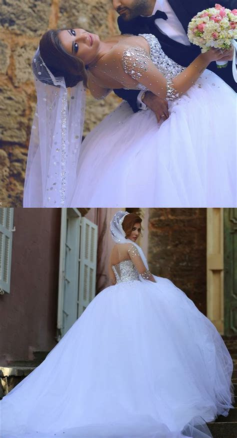Sheer Sweetheart Crystal Ball Gown Wedding Dresses Lace up