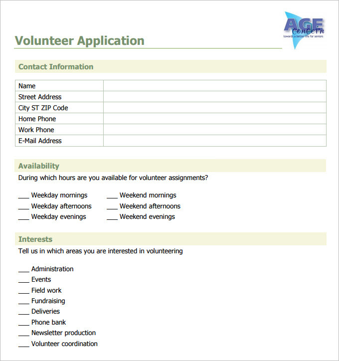 Volunteer Application Form Template Business