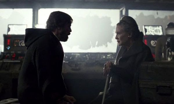 Mark Hamill and the late Carrie Fisher, in this scene from last year's THE LAST JEDI, will return for STAR WARS: EPISODE IX...with unused footage of Fisher from 2015's THE FORCE AWAKENS being employed in next year's Skywalker saga finale.