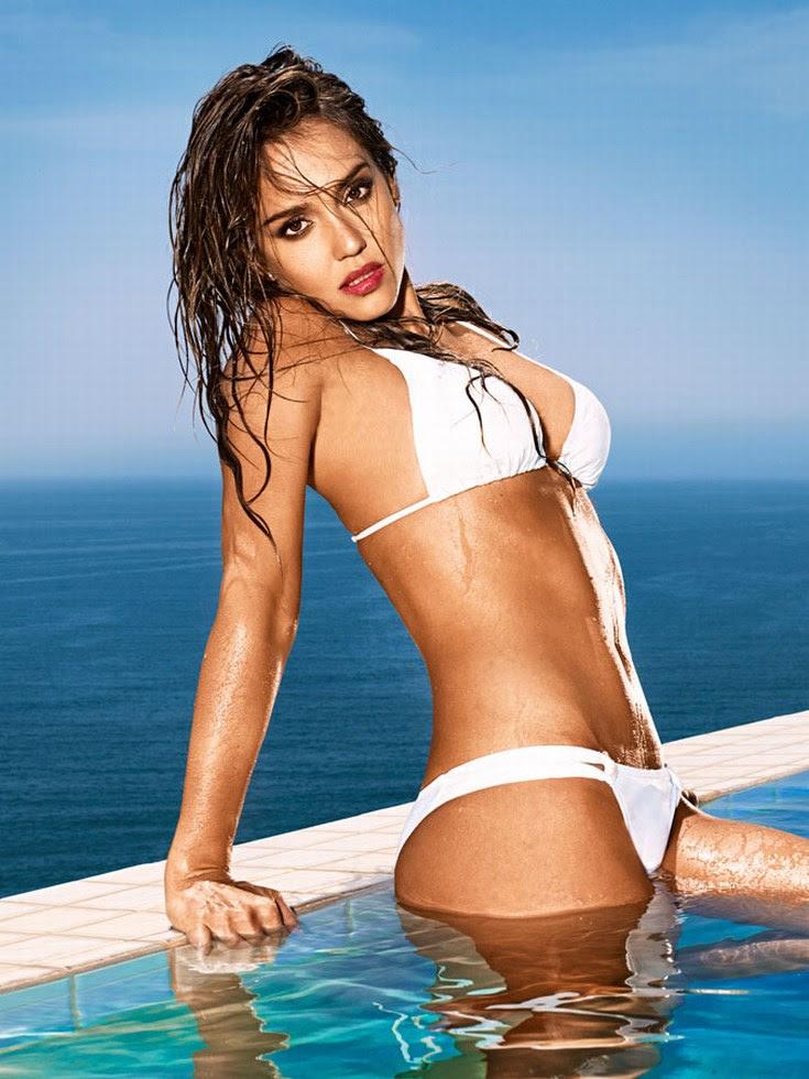 Jessica Alba bikini blanco mojado