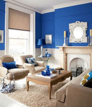 blue wall painting ideas, room decor with modern accessories in blue color
