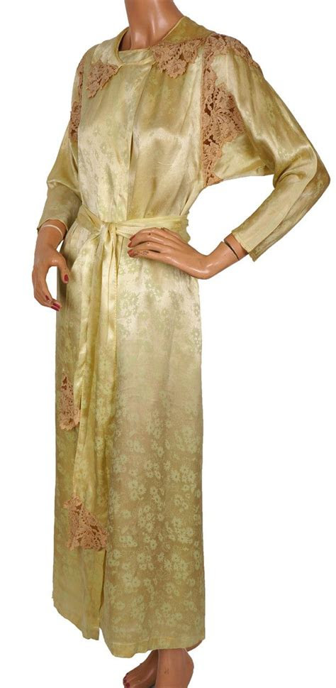 robe womens silk dressing gown vintage lingerie size