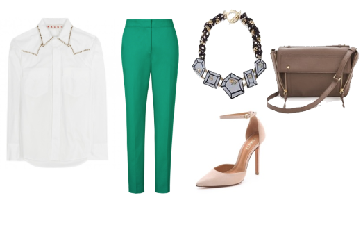green pants work outfit