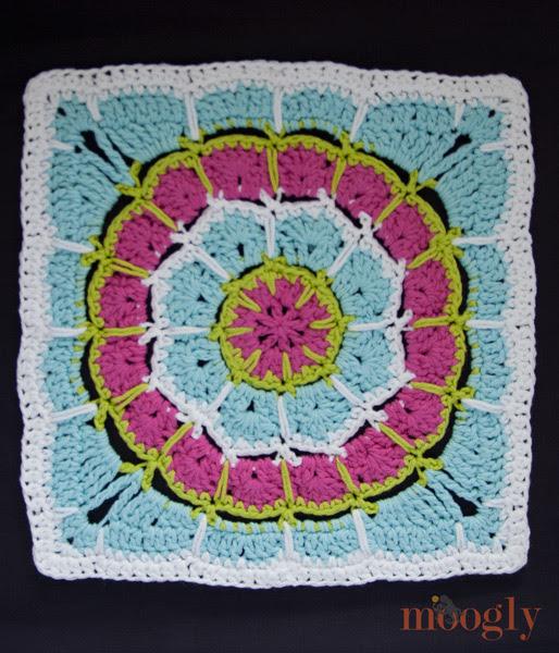 "Magia de Pico Mandala Square - 12 ""afgano bloque, patrón de crochet gratis!"