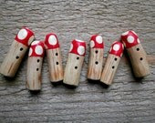 Toadstool Sewing Buttons - Handcrafted Wood - Pack of 7 - Toggle Style - fionamacneil