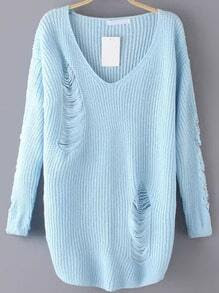 Blue V Neck Ripped Sweater
