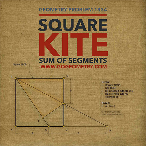 Geometric Art Typography and Sketch of Problem 1334. Square, Kite, Sum of Segments, iPad Apps.