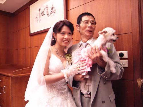 新娘與她的爸爸,當然還有可愛的橘子