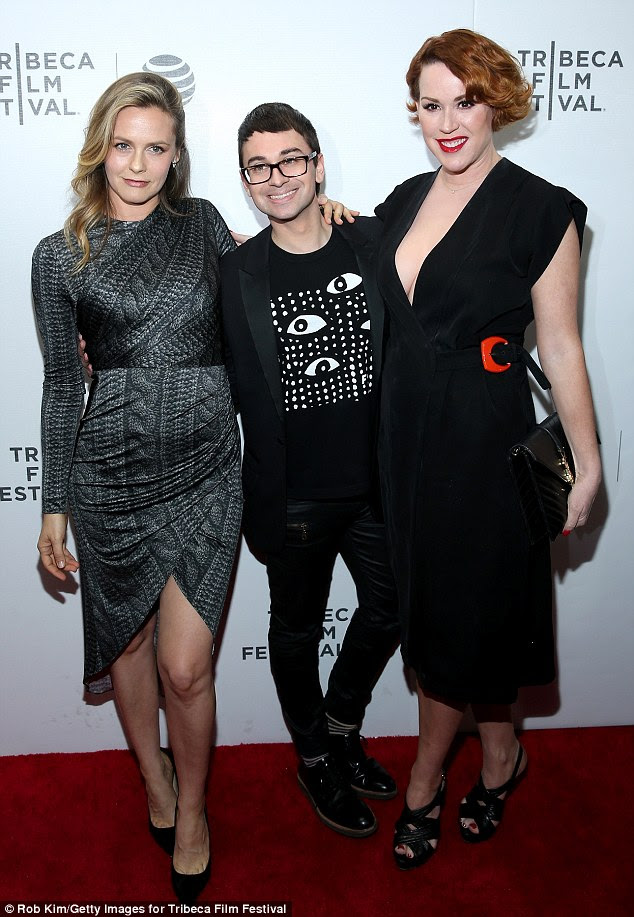 'Such a fun night seeing the new film #kingcobra with these beauties!'The 48-year-old Brat Packer and the 39-year-old 'Aerosmith girl' were joined at Regal Battery Park Cinemas by designer Christian Siriano