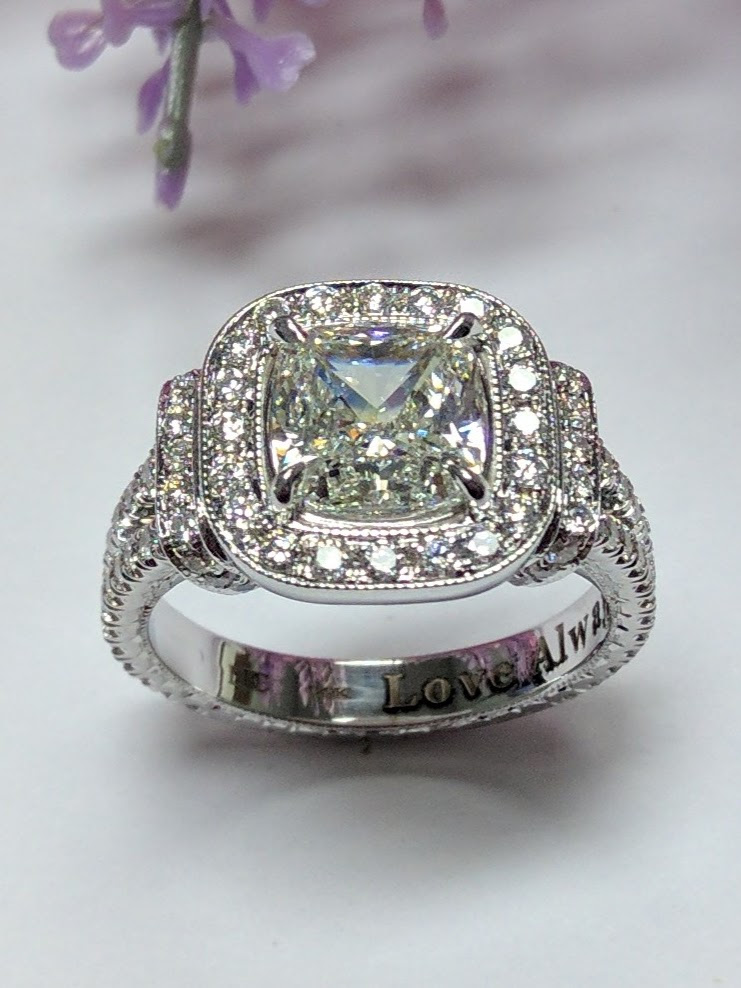 Wedding rings cushion cut diamond