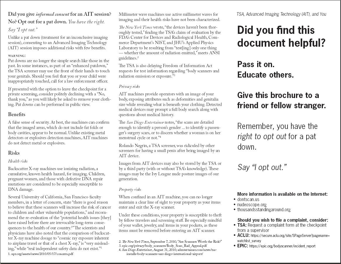 Image Know Your Rights Brochure What the TSA isn't telling you dontscan.us page2