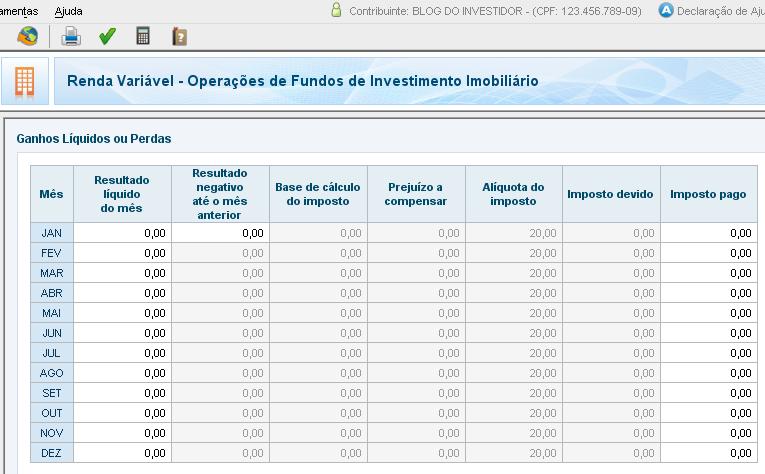 IRPF 2012 - Renda Variável - Fundos de Investimento Imobiliário (FII)