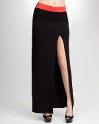 Bebe Contrast Knit Maxi Skirt