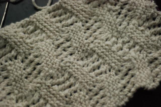 Handspun handknit white textured lace scarf