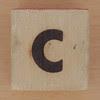 Wood Brick Scorched Letter c