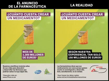 Campaña de Pfizer (traducida al castellano) y la contracampaña de Médicos sin Fronteras en un montaje elaborado por la ONG.