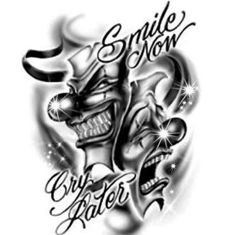 Laugh Now Cry Later Joker Tattoo Design Tattoos Book 65000
