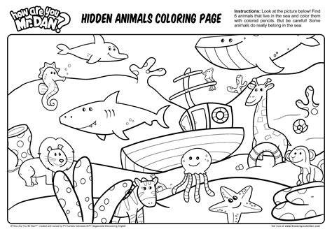 hidden animals coloring page printables kids