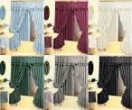 Diamond Pattern Fabric Double Swag Shower Curtain Set Tiebacks ...
